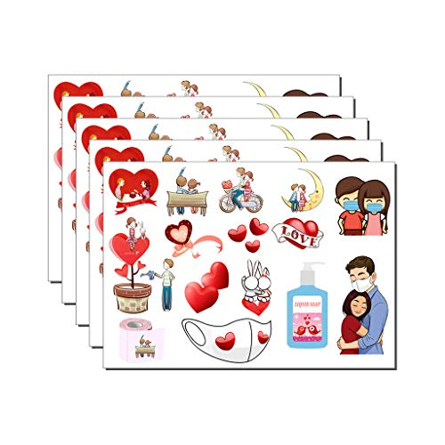 Irjdksd 5pcs Valentine's Day Love Stickers 2021 New Year Valentine's Day Love Graffiti Stickers Waterproof Suitcase DIY Notebook Stickers Tiny Stickers Cute Stickers Aesthetic Stickers