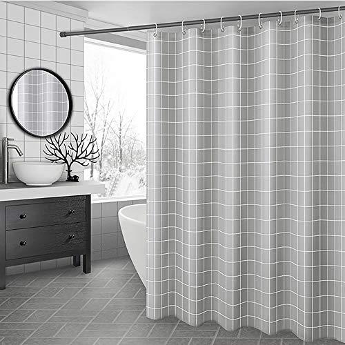 Sissiana Duschvorhang Textil Anti-Schimmel mit Gewicht Wasserdicht Antibakteriell Wasserabweisend Stoff Polyester Waschbar für Dusche & Badewanne inkl. 12 Duschvorhangringen (Grau, 180 x 200 cm)