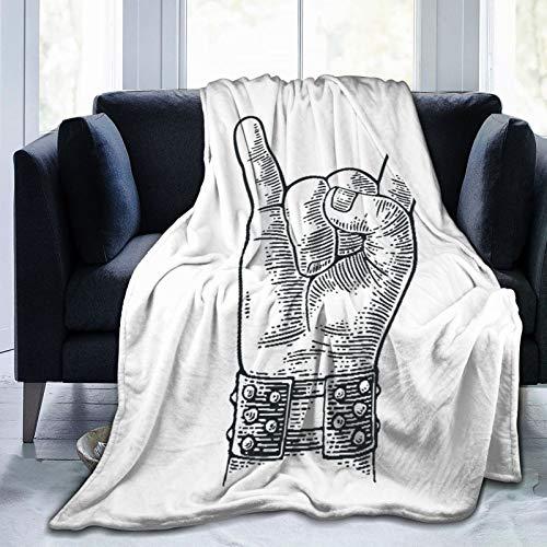 Qtchenglj Manta de Microfibra Ultra Suave, Letrero de Mano de Rock and Roll, Pulsera con Pinchos de Metal Que le da el Gesto de los Cuernos del Diablo,80 'x 60'