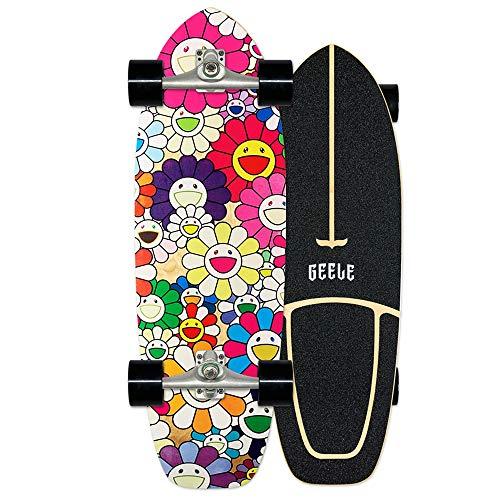 WRISCG Surfskate Skateboard Completo Arce Tablero 78×24cm, Rodamientos de Bolas ABEC Alta velicidad, 7 Capas Arce Duro, Carga de hasta 150 kg, para Principiantes y Profesionales,C