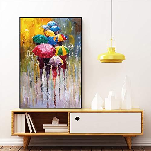Abstract olieverfschilderij Regenachtige dag en regenboog Paraplu's Canvas schilderij Muurposters en prints Muurkunst Foto Woonkamer Decor C 75x100cm Geen lijst