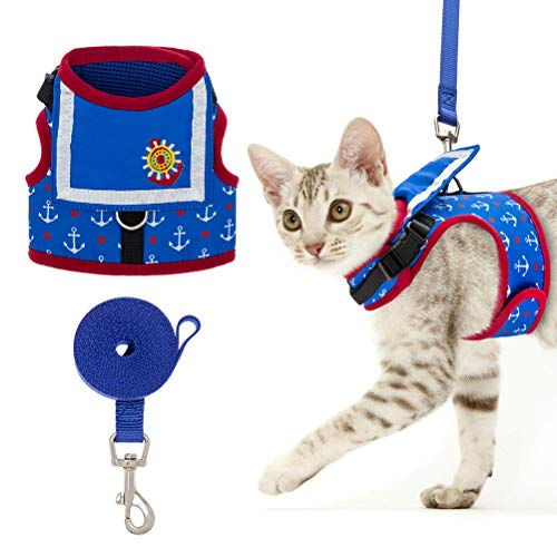 EXPAWLORER Cat Harness with Leash Set Sailor Suit Design Cat Vest Harness Adjustable Rudder Pattern Cat Harness for Cats Puppies Wearing