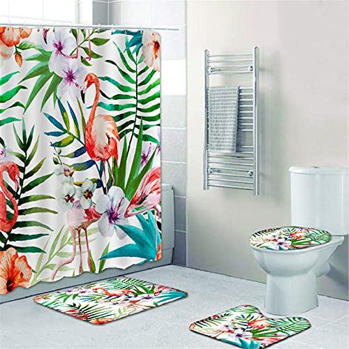 SMNVCKJ Flamingo Cortina de ducha 180 x 200, 180 x 180, multicolor, alfombra de baño, juego de 4 piezas, impresión digital, resistente al agua, accesorios para muebles, con ganchos (200 x 240 cm, 10)
