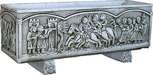 DEGARDEN Jardinera Rectangular Moderna en hormigón para Exterior Medieval Piedra Exterior...