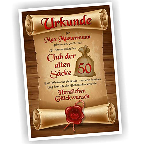 Play-Too Geburtstagsurkunde 30 40 50 60 Club der Alten Säcke Bild Geschenk Urkunde Geburtstag personalisiert Fest Alter Sack