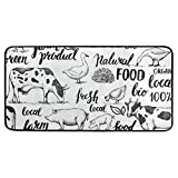 Jereee Farm Animals Pig Cow Rooster Duck Non-Slip Kitchen Mat Rectangle Polyester Doormat Floor Runner Rug Home Decor 39' x 20'