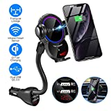 Car Cigarette Lighter Wireless Charger Mount- Automatic Clamping Phone Holder,Infrared Smart Sensor Dual USB QC3.0 Ports 10W 7.5W Qi Fast Charging Air Vent Cradle for Cell Phone