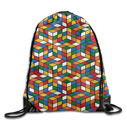 Liuzhis Gimnasio Cordón Cubo Mundo Rubik Unisex Bolsa de Cordón Simple Dibujo Secado Rápido Mochila Bolsa