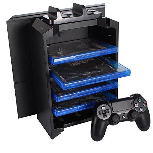 KONKY Tour de Stockage pour PlayStation 4/PS4 Slim/PS4 Pro Console Support Manettes Double de recharge,Stand Vertical Jeux Vidéo Disque Holder,12 Slot Stockage de jeu 3 en 1 Multifonctions Station Kit
