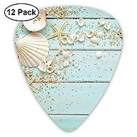 ギターアクセサリ ヒトデの貝の小石の装飾 ギターピック 12枚セット ピック 様々な厚さ カラフル 収納ボックス付