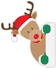 Kerst Stickers | Rendier rond de hoek decoratieve venster, muur, koelkast stickers