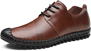 2019 Mens New Lace-up Flats Men's Oxford Fashion Leisure Lightweight Flexible and Anti-Collision Head Official Shoes
