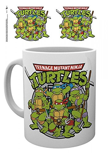 1art1 Teenage Mutant Ninja Turtles, Retro Foto-Tasse Kaffeetasse (9x8 cm) Inklusive 1x Überraschungs-Sticker