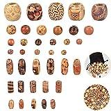 GOLRISEN Cuentas de Madera Manualidades 400 unidades Cuentas de Madera Natural con Patrones de Dibujo Diferentes Abalorios de Madera Perlas de Madera para Hacer Pulseras,Collares,Manualidades,Macramé