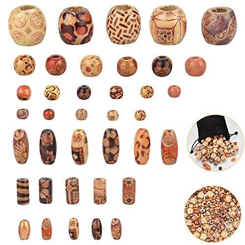 GOLRISEN 400 Pack bedrukte houten kralen, verschillende vormen los hout kralen met verschillende patronen voor sieraden maken, DIY armband ketting, haar ambachten, Dreamcatcher