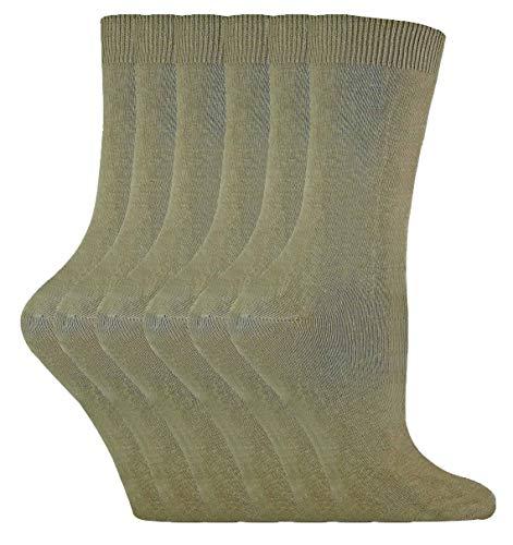 sock snob - 6er pack damen dünn elegant bunt farbig baumwolle socken 37-42 eur (37-42 eu, PL30 Khaki)