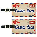 Graphics & More Air Mail Postcard Love for Costa Rica Luggage Suitcase Carry-on Id Tags, White