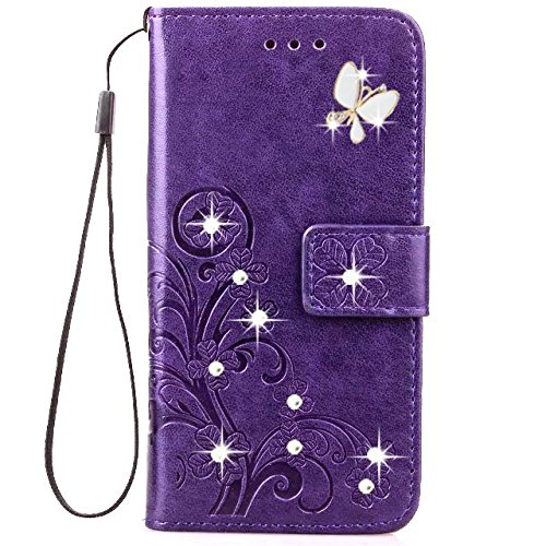 HAOTP Beauty Luxury 3D Handmade Bling Crystal Rhinestone Butterfly Fashion Floral Lucky Flowers PU Flip Stand Credit Card ID Holders Wallet Leather Case Cover for iPhone 4/4s (Bling/Purple)