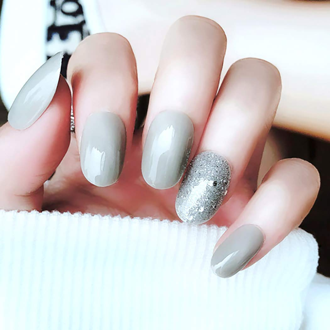 Drecode False Nails Bling Sequins Manufacturer OFFicial shop Ranking TOP8 Grey Acrylic Full Fake Cover N