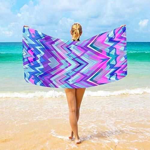 Jacklee Strandtücher Zig Zag Lijnen Chevron groß Mikrofaser für Erwachsene Kinder 94 x 188 cm schnell trocknend leicht super saugfähig Reisehandtuch