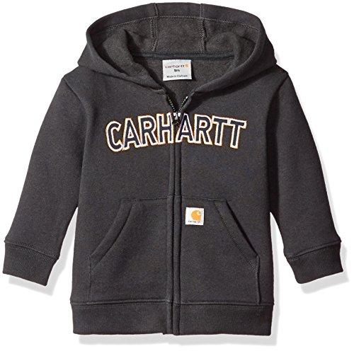 Carhartt Boys' Logo Fleece Zip Sweatshirt, Black, 18 Months