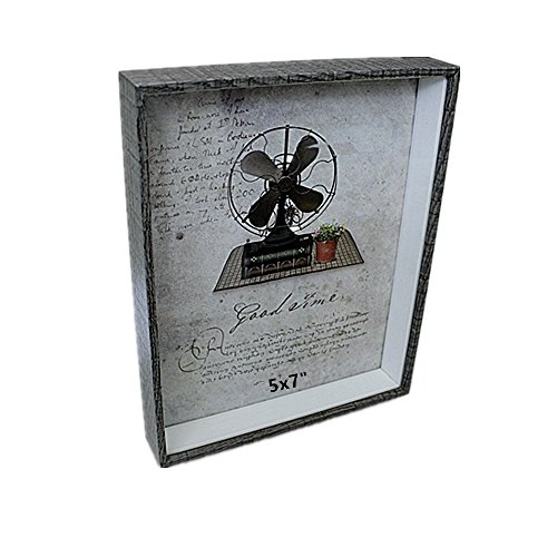 Leoyoubei 5x7 Inch Shadow Box Picture Frame with Real Glass Front,Perfect to Display Memorabilia, Awards, Medals, Tickets,Plant Specimen and Photos Baby Memorial Frame Gray