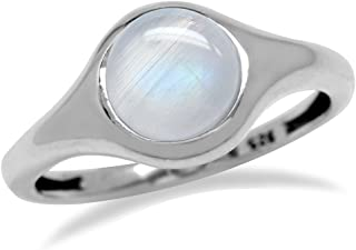 June Birthstone Natural Moonstone 925 Sterling Silver Solitaire Ring