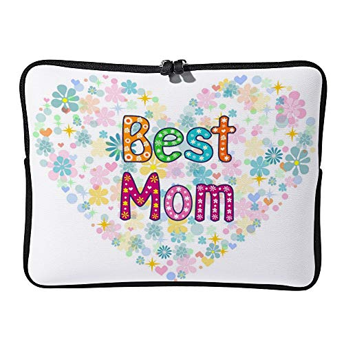 Best Mom Words in Floral Frame Laptop Sleeve for Women Notebook Computer Laptop Case Bags for Christmas Birthday Gifts 15-15.6 Inch