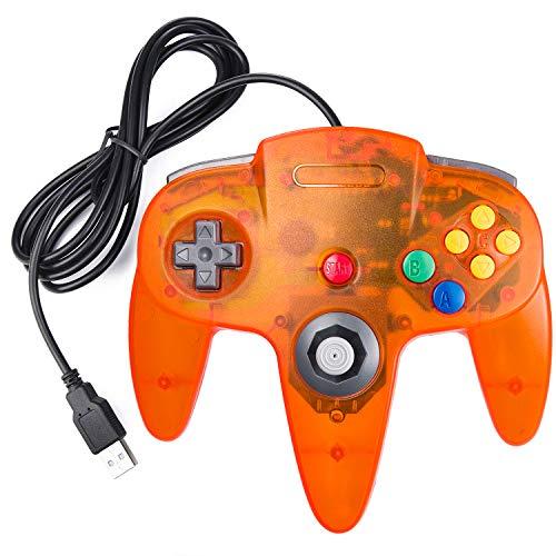 suily USB Controller für N64 Games, Retro Classic Wired USB Gamepad für Windows PC MAC Linux Raspberry Pi 3 (Klares Orange)