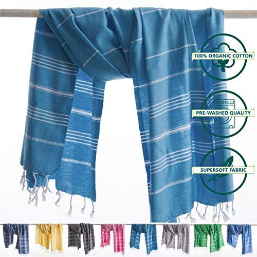 ANATURES Hamamtuch - Strandtuch 95x185cm Playa | Pre-Washed - Oeko-TEX® - Fairtrade - Gekämmte Bio Baumwolle | Saunatuch Badetuch Duschtuch Pestemal Fouta Pareo XL (Turkis)