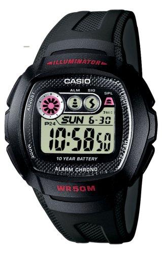 Casio W-210-1CVEF - Reloj digital de caballero de cuarzo con correa de resina negra (cronómetro, alarma, luz) - sumergible a 50 metros