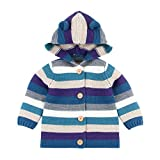 Evelin BEE Toddler Boys Girls Knitted Hooded Cardigan Colorblock Striped Button Down Sweater Outwear Blue