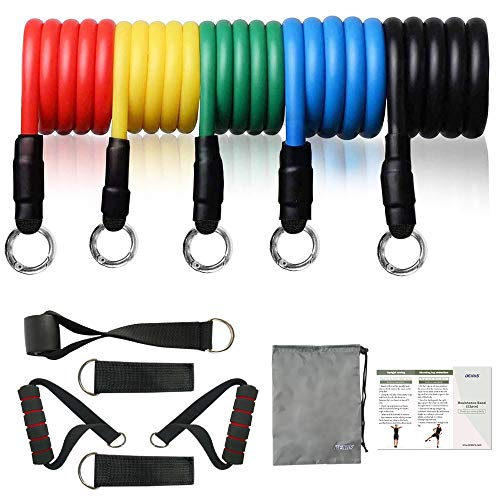 Resistance Bands Set 11pcs, Workout Bands, Exercise Bands Set with Door Anchor, Handles and Ankle Straps, Stackable Up to 100 lbs, for Resistance Training, Physical Therapy, Home Workouts
