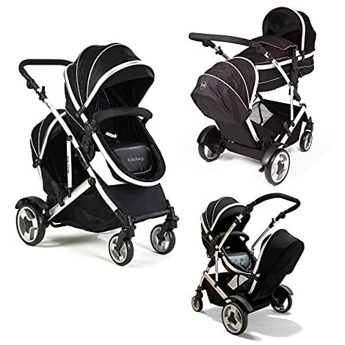 Kids Kargo Duel Combo Tandem Double Pushchair Stroller, Midnight Black