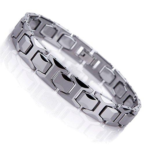 Atemberaubendes Solides Wolfram Glieder Armband für Herren im Polierten Pyramiden Stil (Silber, 11mm)