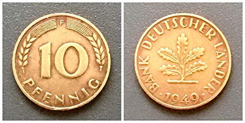 – Deutschland (1949) 10 Pfennig, Bank Deutscher Länder Prägezeichen F