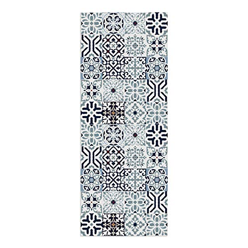 DON LETRA Alfombra Vinílica para Cocina, Salón, Dormitorio y Pasillo, 180 x 70 x 0.2 cm, Color Azul, ALV-005
