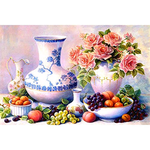 KYYBAX 5D Diamond Painting Full Drill Embroidery, Flower Fruit Tea Bottle Arts Craft Canvas for Home Wall Decor, 30 * 40cm