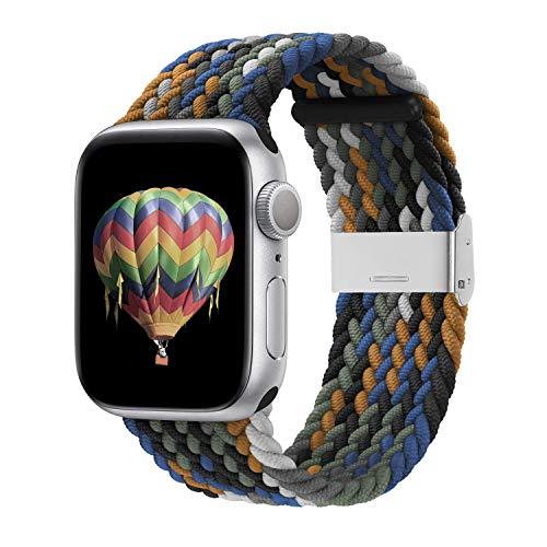 Veegor Compatibile con Apple Watch iWatch, 42 mm, 44 mm, 40 mm, 38 mm, intrecciato, elastico con fibbia