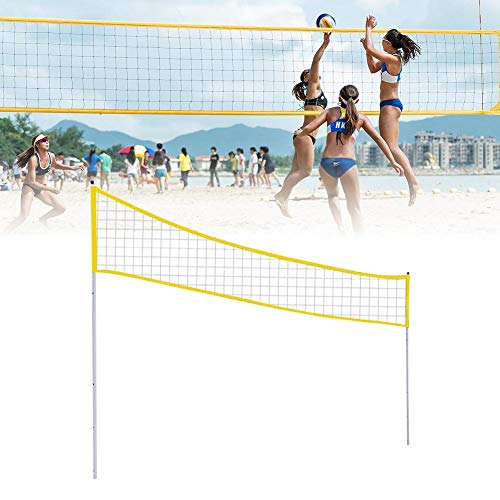 MondayUp Verstellbares Volleyball/Badminton/Tennisnetz, tragbares Volleyballnetz, Faltbarer Netzrahmen mit Stange für Strand, Gras, Park, Outdoor-Veranstaltungen, 3 Höhen gelb