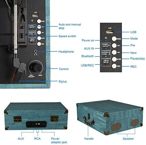 Tocadiscos Bluetooth con Estéreo Altavoces, Tocadiscos de Vinilo de Estilo...