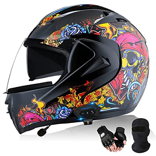 HOMFLOW Casco De Motocicleta Integrado Bluetooth Cascos Modulares De Moto De Visera Doble para Hombres Y Mujeres Adultos Certificación ECE con Mascara Facial Y Guantes