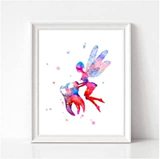 caomei Tooth Fairy Watercolor Art Canvas Poster Painting Teeth Anatomy Stomatology Wall Picture Print Dental Clinic Doctor Office Decor -50cmx70cm (no Frame)