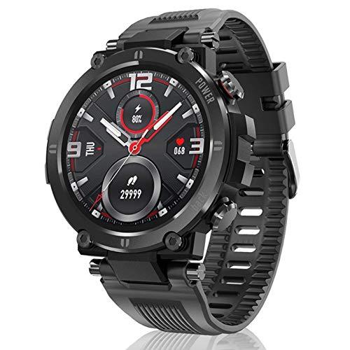 DKM Pulseras Inteligentes para Hombres Y Mujeres Táctiles Completos Pantalla Redonda Pedómetro Ritmo Cardíaco News Push IP68 Responsable Bluetooth Smart Watch para Android iOS,B