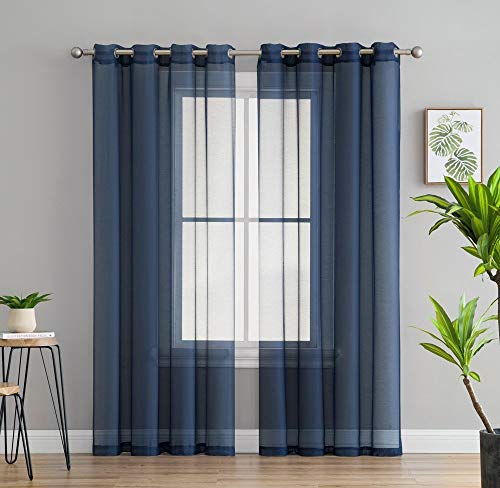 """HLC.ME 2 Piece Sheer Voile Window Curtain Grommet Panels for Bedroom & Living Room (54"""" W x 84"""" L, Navy Blue)"""