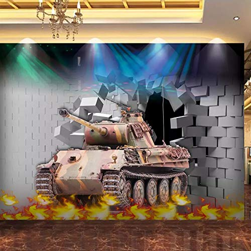 ZPDM 3D No Tejido o Vinile 15 tamaños Mural Pelar y Pegar Mural Fondo de Pantalla - Pared de ladrillo tanque llama batalla - Pegatinas De Pared, Calcomanías De Vinilo De Creativo Extraíble Para Baño N
