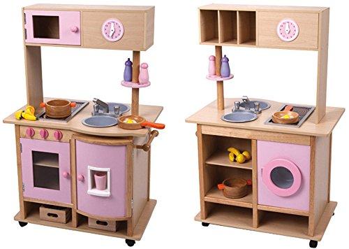 edle große Spielküche Küche aus Holz beidseitig mit Rollen und viel Zubehör