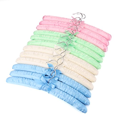 Tosnail Non-Slip Satin Padded Hangers Collection ShirtBlouse Hangers - Pink Blue Green White 12