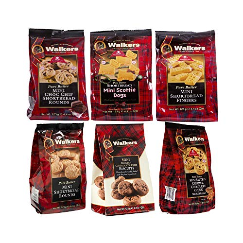 Walkers Shortbread Mini Bags Variety Pack, (1 of Each: Fingers, Rounds, Chocolate Chip, Scottie Dogs, Salted Caramel & Chocolate Chunk, Belgian Chocolate Cookies), 6 Count