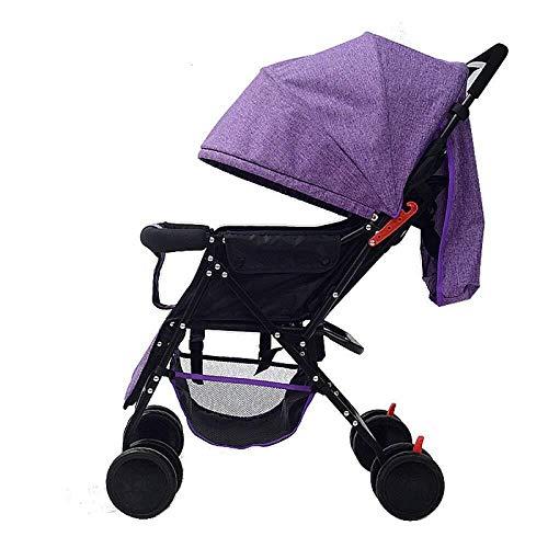 Yankuoo 3-in-1 reissysteem kinderwagen, draagbare vouwwagen, verbrede en uitgebreide kinderstoel, babybedje, verstelbare voeten en regenhoes (aan boord mogelijk) Paars